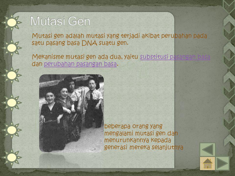 Mutasi gen adalah mutasi yang terjadi akibat perubahan pada satu pasang basa DNA suatu gen. Mekanisme mutasi gen ada dua, yaitu substitusi pasangan ba