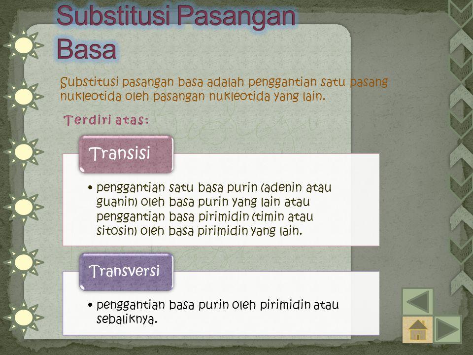 Substitusi pasangan basa adalah penggantian satu pasang nukleotida oleh pasangan nukleotida yang lain. penggantian satu basa purin (adenin atau guanin