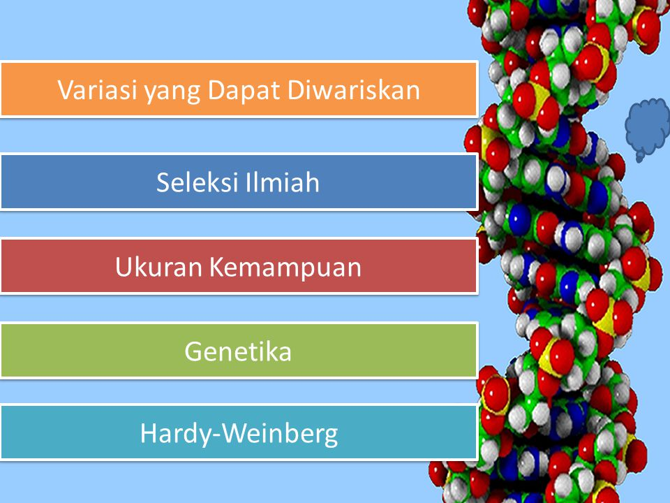 Variasi yang Dapat Diwariskan Variasi yang Dapat Diwariskan Seleksi Ilmiah Seleksi Ilmiah Ukuran Kemampuan Ukuran Kemampuan Genetika Genetika Hardy-We