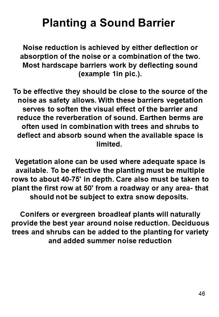 46 Planting a Sound Barrier Noise reduction is achieved by either deflection or absorption of the noise or a combination of the two. Most hardscape ba