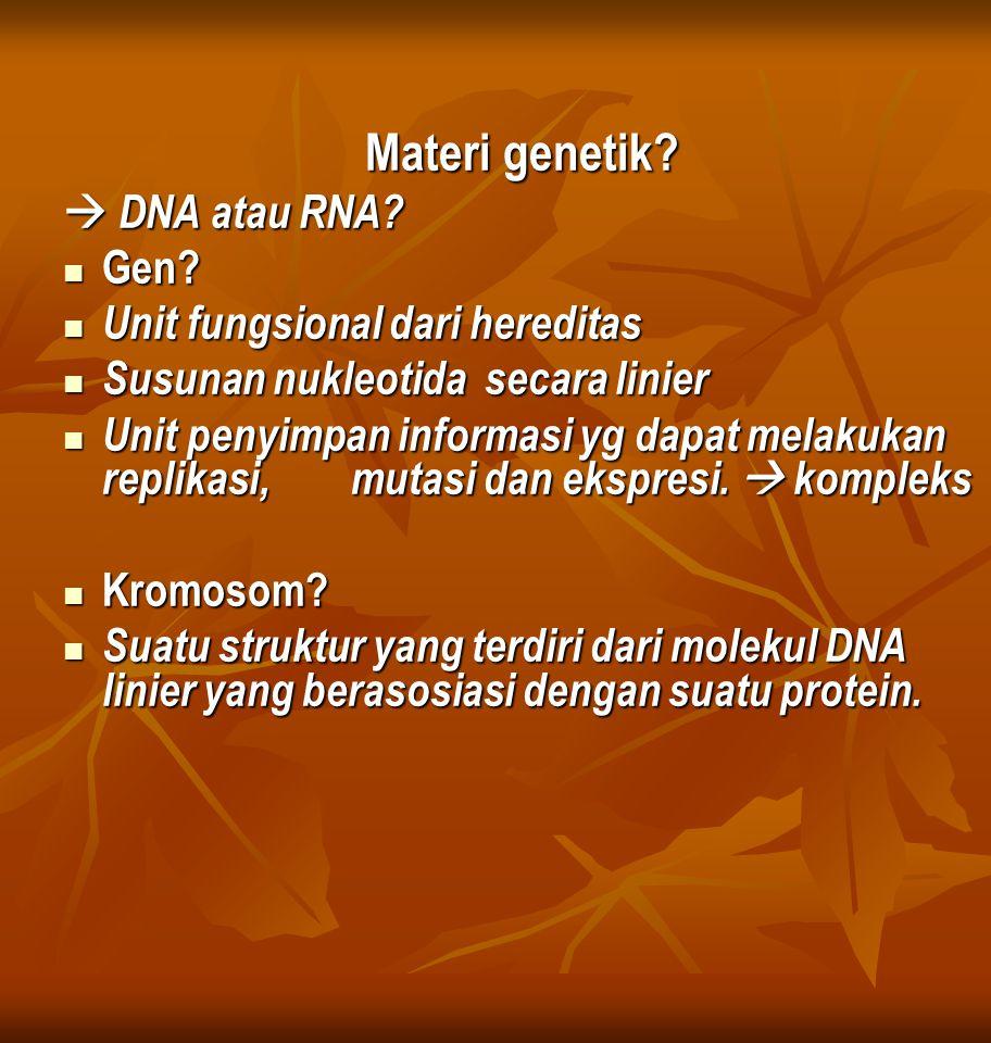 Materi genetik. DNA atau RNA. Gen. Gen.