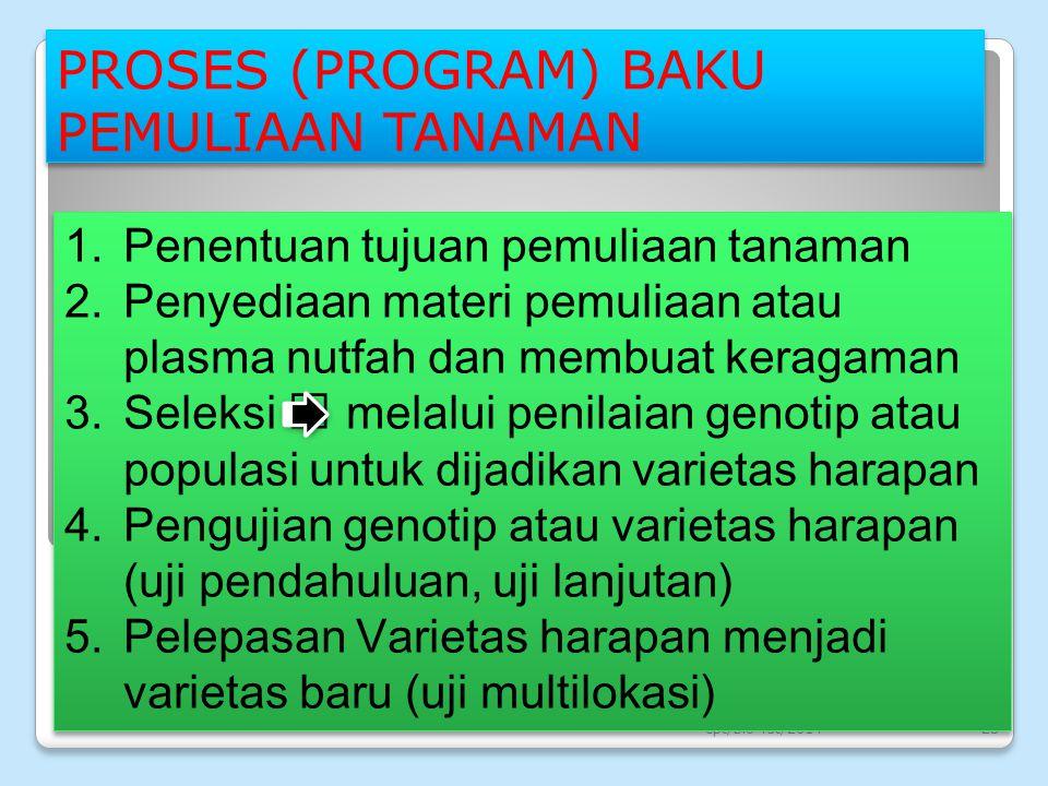 PROSES (PROGRAM) BAKU PEMULIAAN TANAMAN cpt/bio-fst/201423 1.Penentuan tujuan pemuliaan tanaman 2.Penyediaan materi pemuliaan atau plasma nutfah dan m