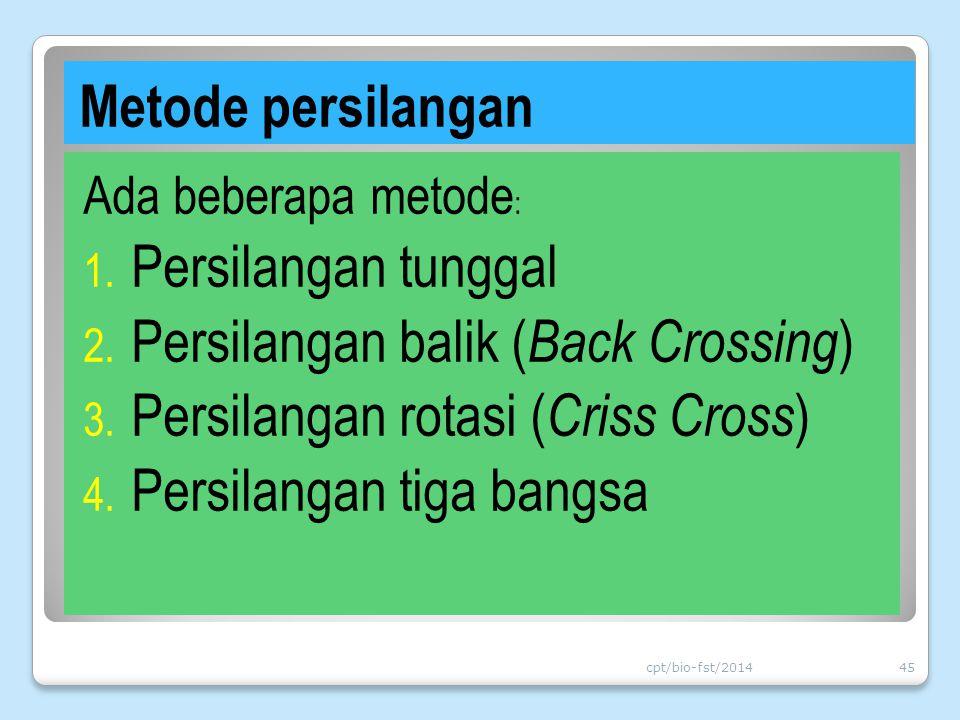 Metode persilangan Ada beberapa metode : 1. Persilangan tunggal 2. Persilangan balik ( Back Crossing ) 3. Persilangan rotasi ( Criss Cross ) 4. Persil