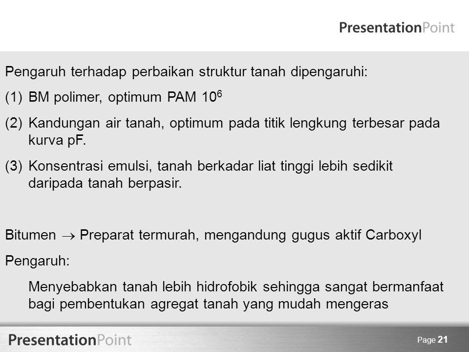Page 21 Pengaruh terhadap perbaikan struktur tanah dipengaruhi: (1)BM polimer, optimum PAM 10 6 (2)Kandungan air tanah, optimum pada titik lengkung te