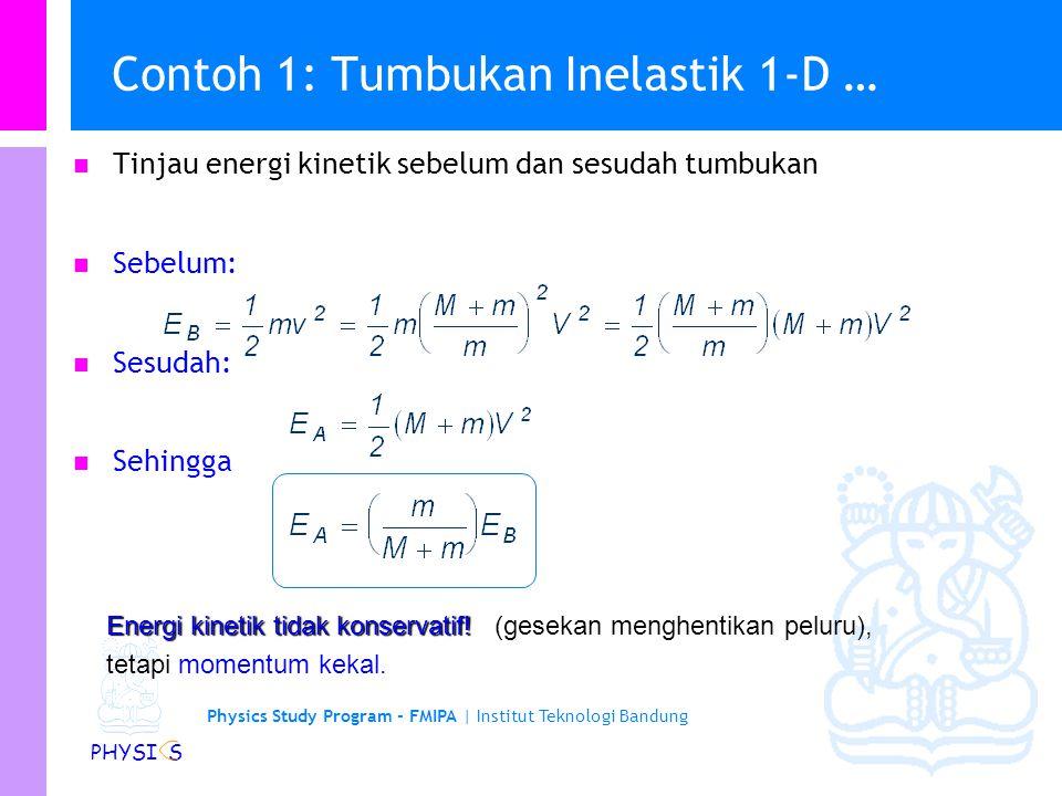 Physics Study Program - FMIPA | Institut Teknologi Bandung PHYSI S Contoh 1: Tumbukan Inelastik 1-D … Pandang peluru dan balok sebagai satu sistem. Se
