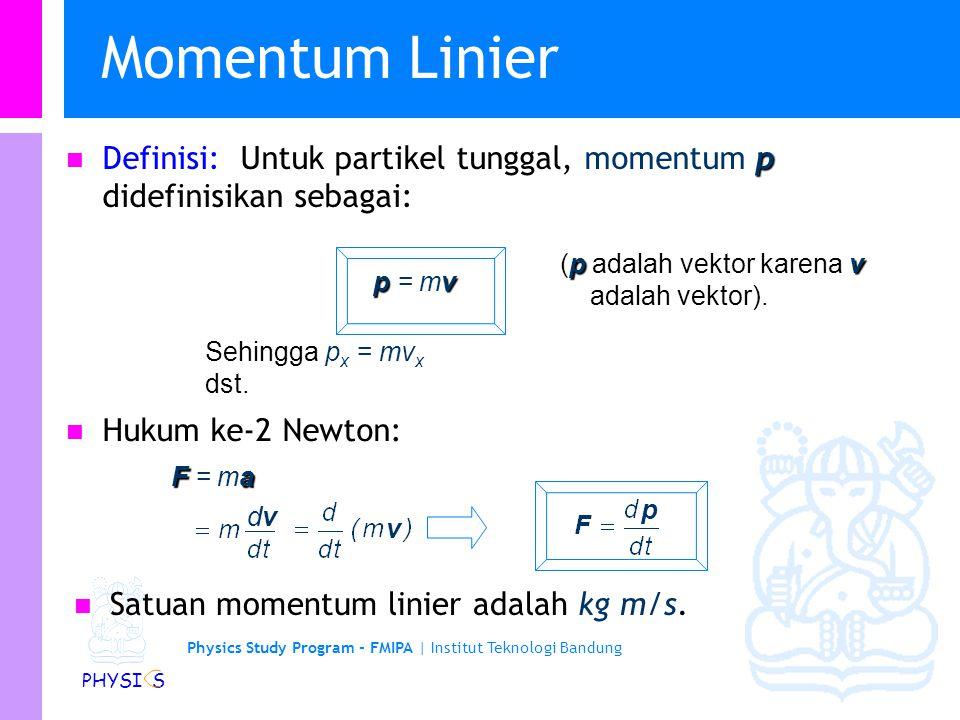Physics Study Program - FMIPA | Institut Teknologi Bandung PHYSI S Momentum Linier p Definisi: Untuk partikel tunggal, momentum p didefinisikan sebagai: Hukum ke-2 Newton: Fa F = ma pv p = mv pv (p adalah vektor karena v adalah vektor).