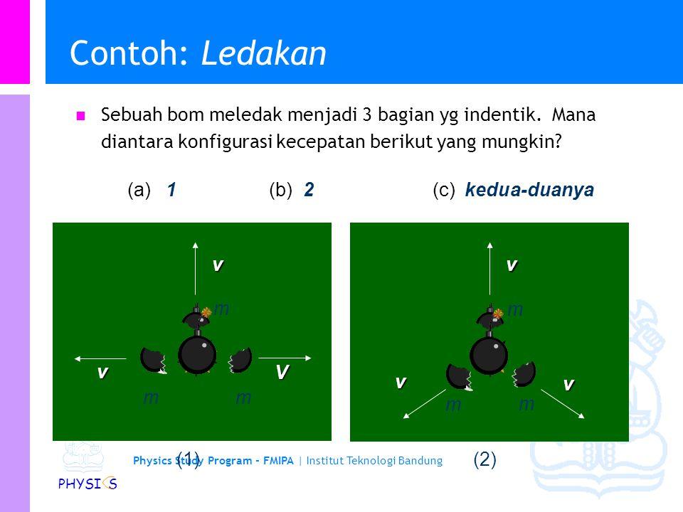 Physics Study Program - FMIPA | Institut Teknologi Bandung PHYSI S Ledakan... P Tidak ada gaya eksternal, momentum P konservatif. P Awal: P = 0 Pvv Ak