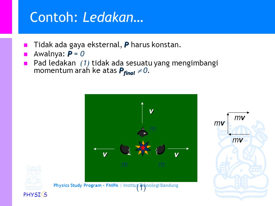 Physics Study Program - FMIPA | Institut Teknologi Bandung PHYSI S Contoh: Ledakan Sebuah bom meledak menjadi 3 bagian yg indentik. Mana diantara konf