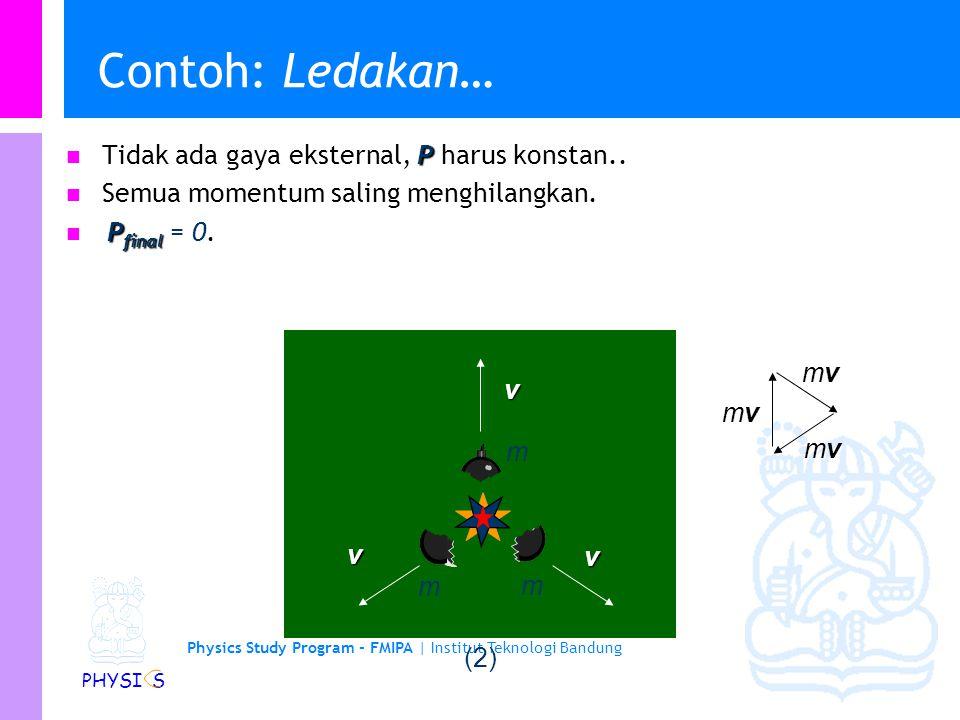Physics Study Program - FMIPA | Institut Teknologi Bandung PHYSI S Contoh: Ledakan… mm v v v m (1) P Tidak ada gaya eksternal, P harus konstan. P Awal