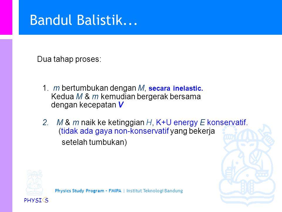 Physics Study Program - FMIPA | Institut Teknologi Bandung PHYSI S Bandul Balistik (Ballistic Pendulum) H LL LL m M l Sebuah peluru dengan massa m ber