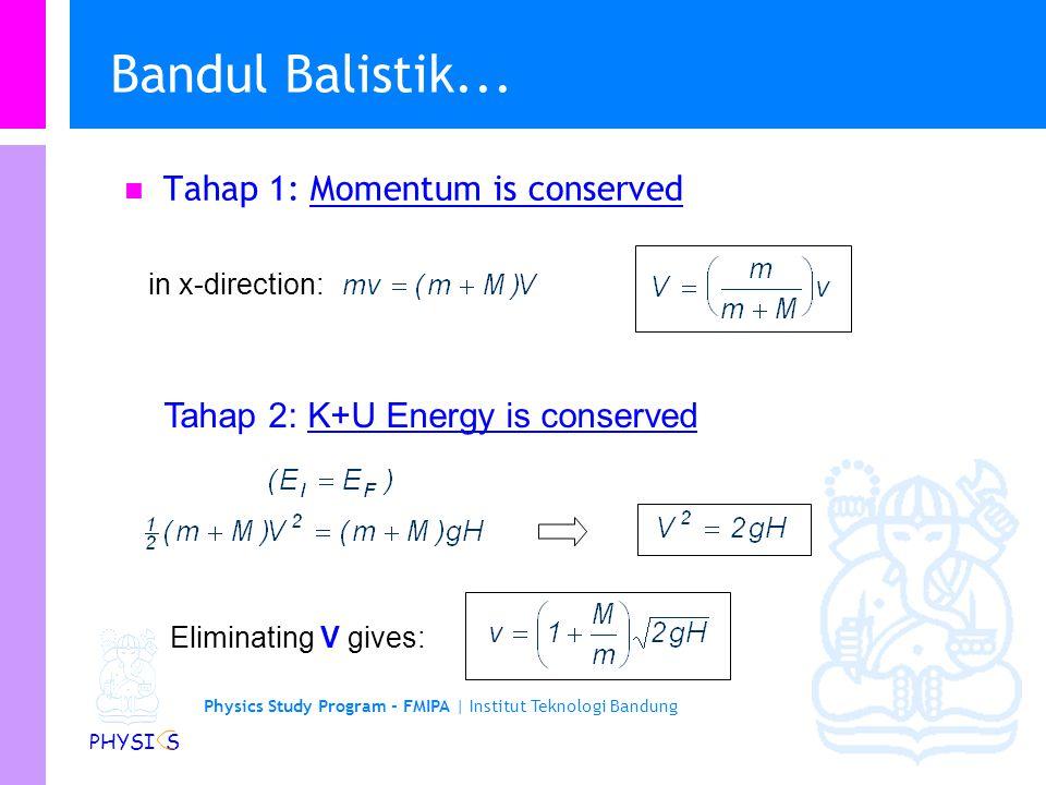 Physics Study Program - FMIPA | Institut Teknologi Bandung PHYSI S Bandul Balistik... l Dua tahap proses: 1. m bertumbukan dengan M, secara inelastic.