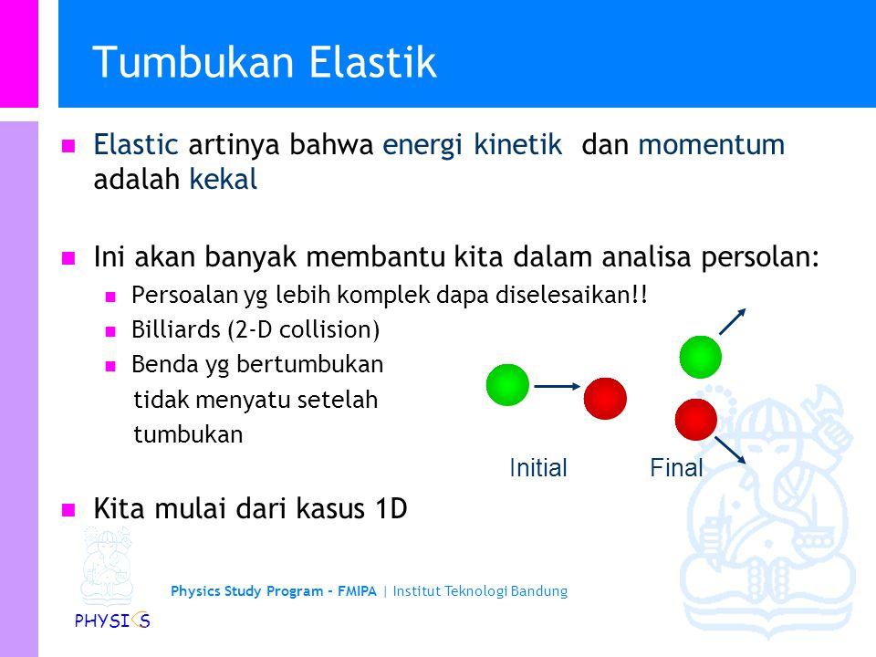 Physics Study Program - FMIPA | Institut Teknologi Bandung PHYSI S Bandul Balistik... Tahap 1: Momentum is conserved in x-direction: l Tahap 2: K+U En