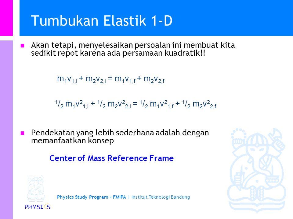 Physics Study Program - FMIPA | Institut Teknologi Bandung PHYSI S Tumbukan Elastik 1-D v 1,i v 2,i v 1,f v 2,f before after x m1m1 m2m2 Konservasi P