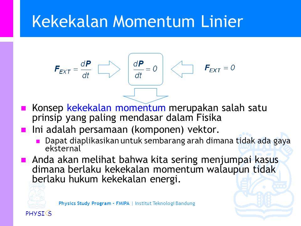 Physics Study Program - FMIPA | Institut Teknologi Bandung PHYSI S Contoh 4: Tumbukan Elastik 2-D The third choice both balances the y components and has 90 o between the final direction vectors of the two balls.