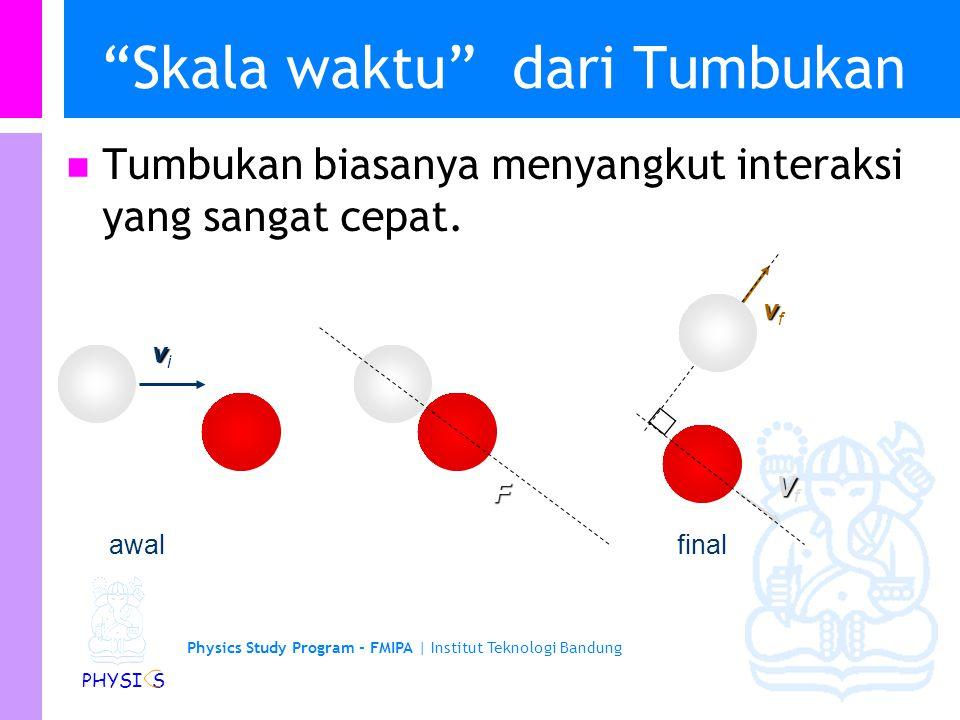 Physics Study Program - FMIPA | Institut Teknologi Bandung PHYSI S Tumbukan Elastik 2-D: Nuclear Scattering ppP Gunaka kekekalan momentum: p i = p f + P pp So P 2 = (p i -p f ) 2 ppippi P ppfppf p m p m P M if 2 2 2 222  PM p m p m if 2 2 2 2 22        l Gunakan kekekalan energi:  P if 2 2  pp Gunakan  Mm pp if if            pp 2 22