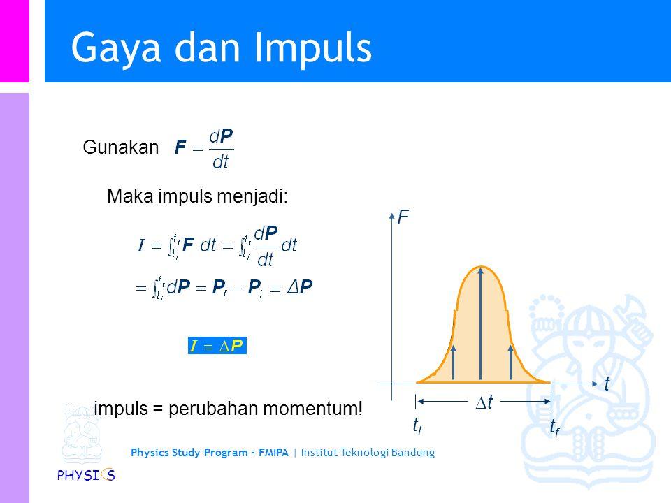 Physics Study Program - FMIPA | Institut Teknologi Bandung PHYSI S Gaya dan Impuls F t titi tftf tt l Gunakan Maka impuls menjadi: impuls = perubahan momentum!