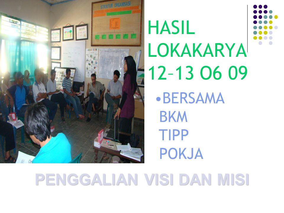 HASIL LOKAKARYA 12–13 O6 09 PENGGALIAN VISI DAN MISI BERSAMA BKM TIPP POKJA