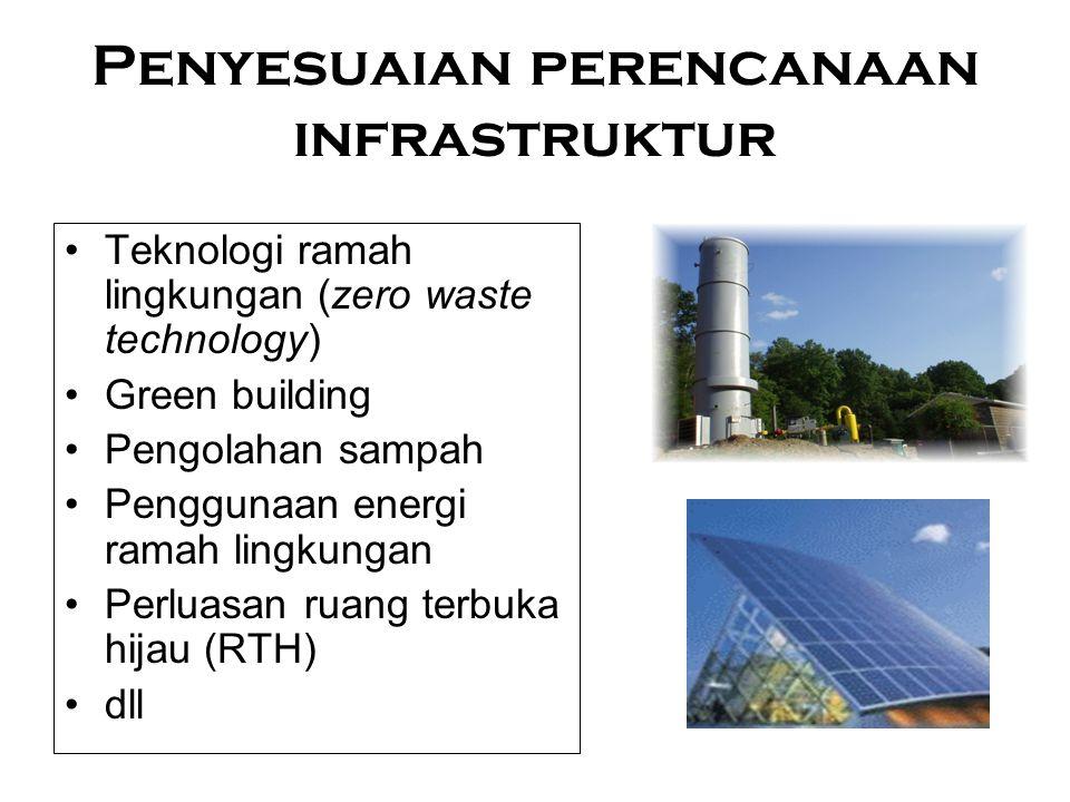 Penyesuaian perencanaan infrastruktur Teknologi ramah lingkungan (zero waste technology) Green building Pengolahan sampah Penggunaan energi ramah ling