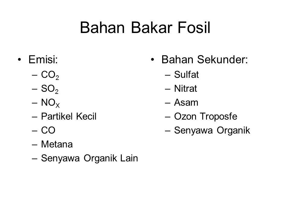 Bahan Bakar Fosil Emisi: –CO 2 –SO 2 –NO X –Partikel Kecil –CO –Metana –Senyawa Organik Lain Bahan Sekunder: –Sulfat –Nitrat –Asam –Ozon Troposfe –Sen