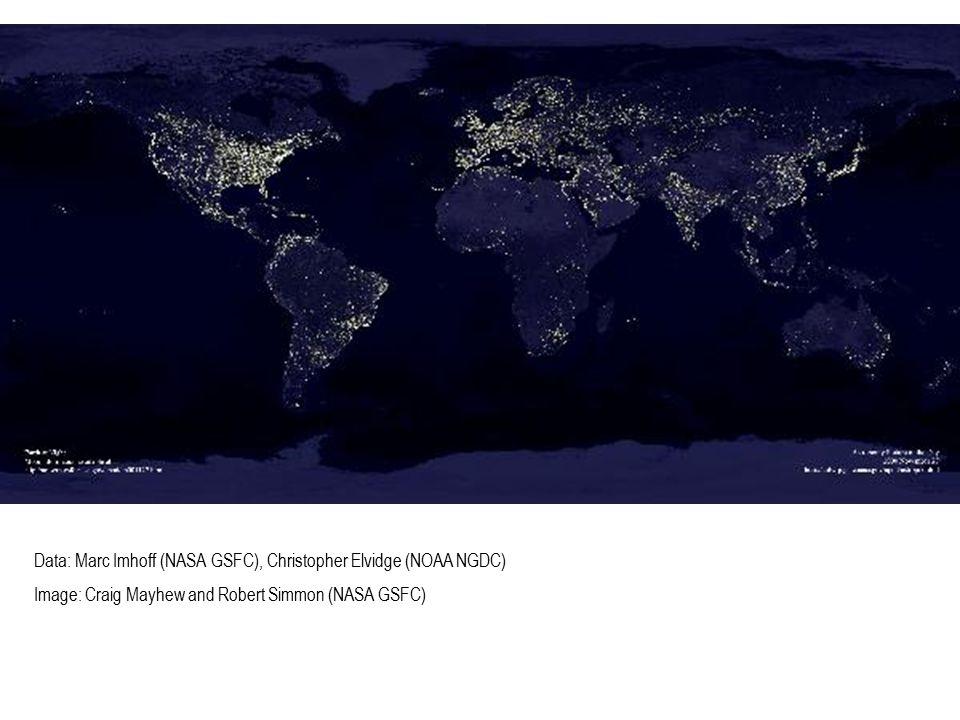 Data: Marc Imhoff (NASA GSFC), Christopher Elvidge (NOAA NGDC) Image: Craig Mayhew and Robert Simmon (NASA GSFC)