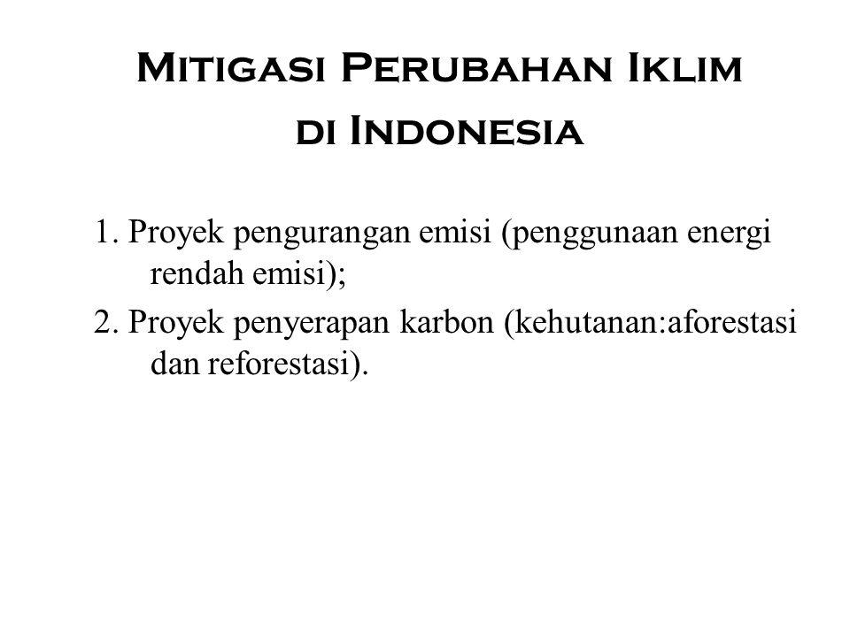 Mitigasi Perubahan Iklim di Indonesia 1. Proyek pengurangan emisi (penggunaan energi rendah emisi); 2. Proyek penyerapan karbon (kehutanan:aforestasi