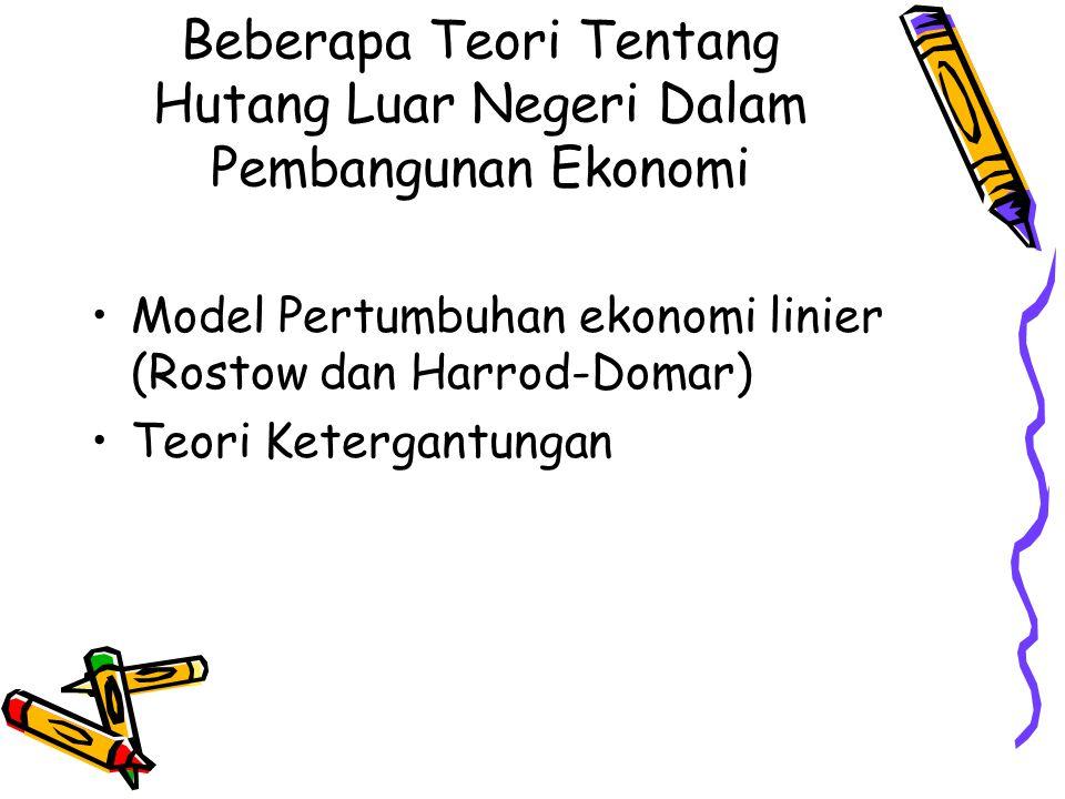 Beberapa Teori Tentang Hutang Luar Negeri Dalam Pembangunan Ekonomi Model Pertumbuhan ekonomi linier (Rostow dan Harrod-Domar) Teori Ketergantungan