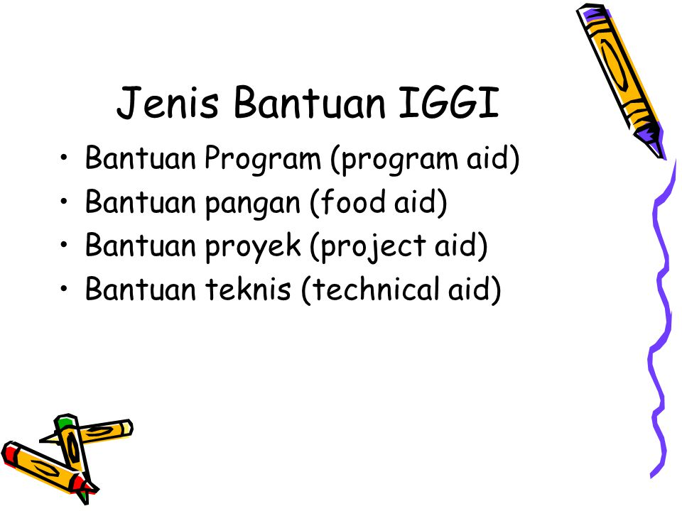 Jenis Bantuan IGGI Bantuan Program (program aid) Bantuan pangan (food aid) Bantuan proyek (project aid) Bantuan teknis (technical aid)