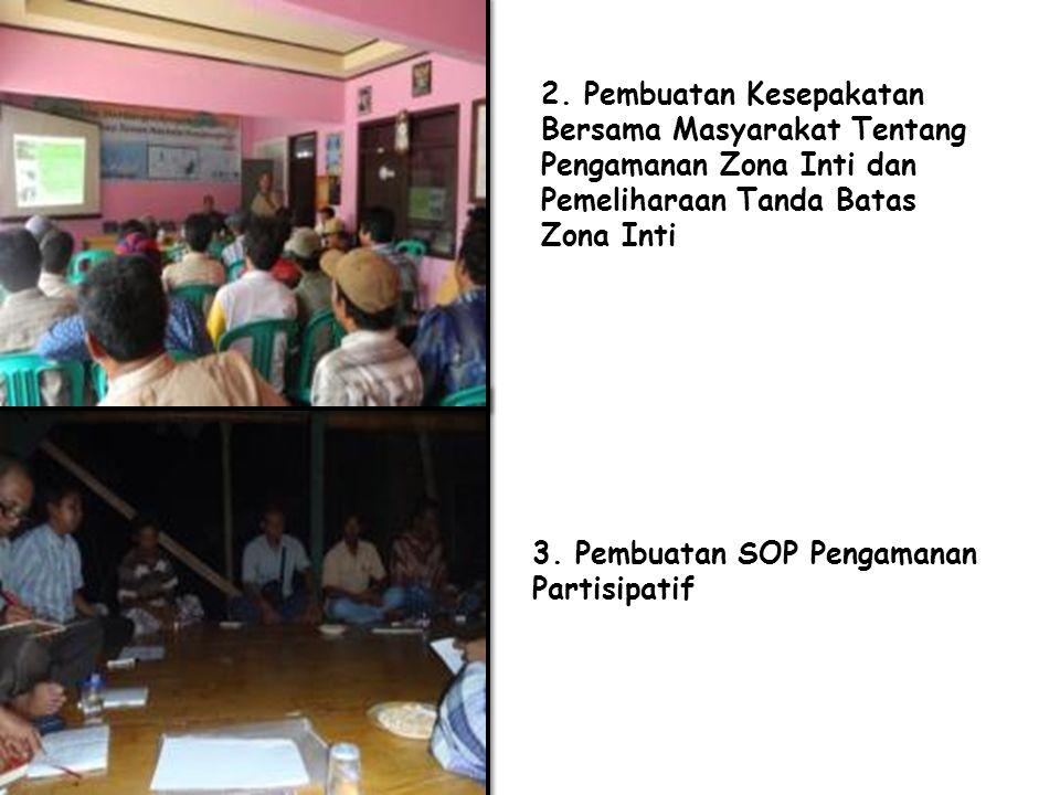 3. Pembuatan SOP Pengamanan Partisipatif 2. Pembuatan Kesepakatan Bersama Masyarakat Tentang Pengamanan Zona Inti dan Pemeliharaan Tanda Batas Zona In
