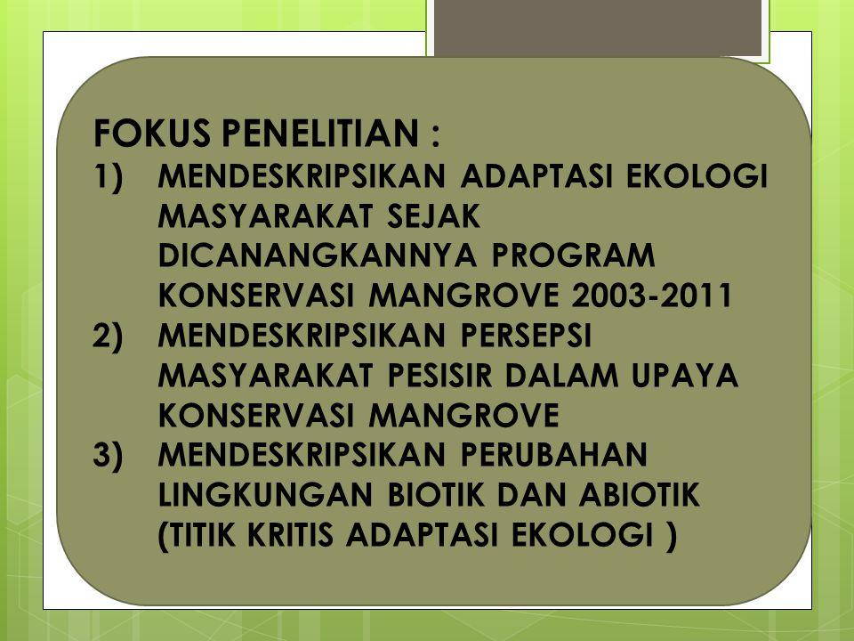 FOKUS PENELITIAN : 1)MENDESKRIPSIKAN ADAPTASI EKOLOGI MASYARAKAT SEJAK DICANANGKANNYA PROGRAM KONSERVASI MANGROVE 2003-2011 2)MENDESKRIPSIKAN PERSEPSI MASYARAKAT PESISIR DALAM UPAYA KONSERVASI MANGROVE 3)MENDESKRIPSIKAN PERUBAHAN LINGKUNGAN BIOTIK DAN ABIOTIK (TITIK KRITIS ADAPTASI EKOLOGI )