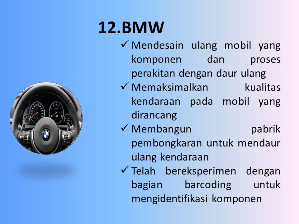 12.BMW Mendesain ulang mobil yang komponen dan proses perakitan dengan daur ulang Memaksimalkan kualitas kendaraan pada mobil yang dirancang Membangun