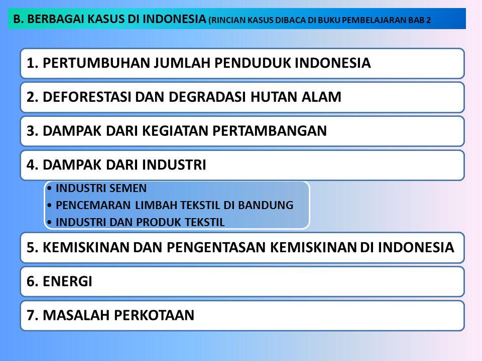 B. BERBAGAI KASUS DI INDONESIA (RINCIAN KASUS DIBACA DI BUKU PEMBELAJARAN BAB 2 1. PERTUMBUHAN JUMLAH PENDUDUK INDONESIA2. DEFORESTASI DAN DEGRADASI H