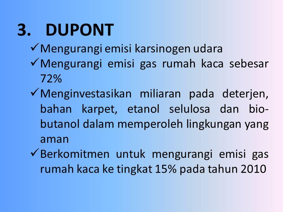 3.DUPONT Mengurangi emisi karsinogen udara Mengurangi emisi gas rumah kaca sebesar 72% Menginvestasikan miliaran pada deterjen, bahan karpet, etanol s