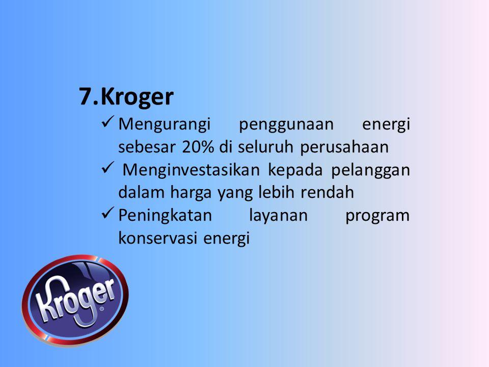7.Kroger Mengurangi penggunaan energi sebesar 20% di seluruh perusahaan Menginvestasikan kepada pelanggan dalam harga yang lebih rendah Peningkatan la