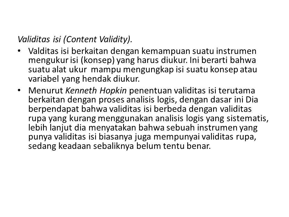 Validitas isi (Content Validity).