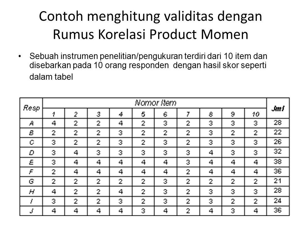 Contoh menghitung validitas dengan Rumus Korelasi Product Momen Sebuah instrumen penelitian/pengukuran terdiri dari 10 item dan disebarkan pada 10 orang responden dengan hasil skor seperti dalam tabel