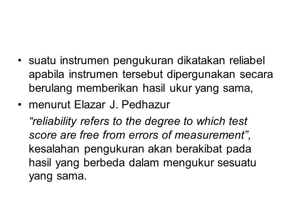 suatu instrumen pengukuran dikatakan reliabel apabila instrumen tersebut dipergunakan secara berulang memberikan hasil ukur yang sama, menurut Elazar J.