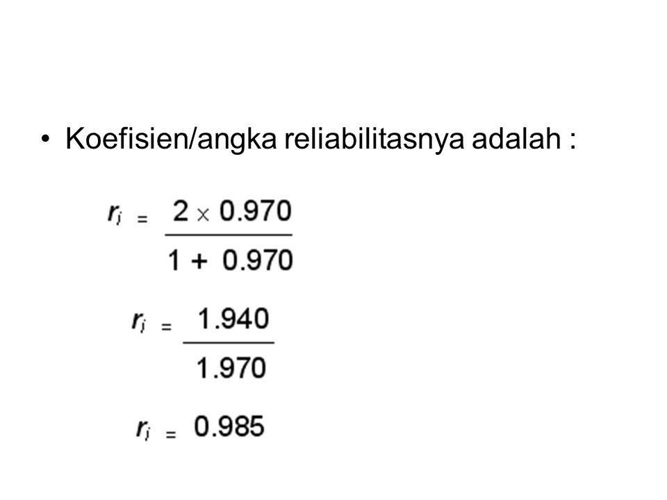 Koefisien/angka reliabilitasnya adalah :