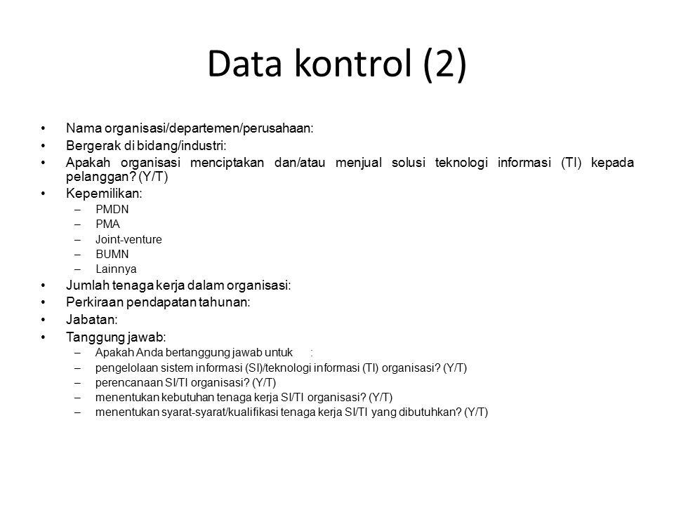 Data kontrol (2) Nama organisasi/departemen/perusahaan: Bergerak di bidang/industri: Apakah organisasi menciptakan dan/atau menjual solusi teknologi informasi (TI) kepada pelanggan.