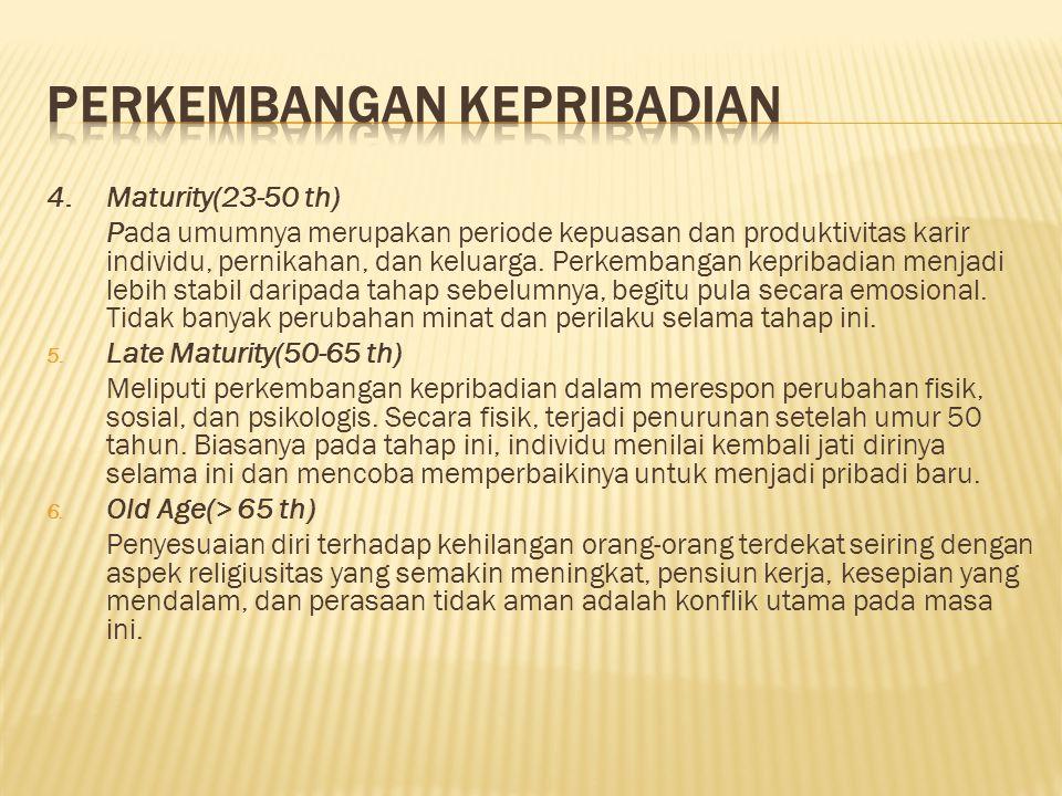 4.Maturity(23-50 th) Pada umumnya merupakan periode kepuasan dan produktivitas karir individu, pernikahan, dan keluarga.