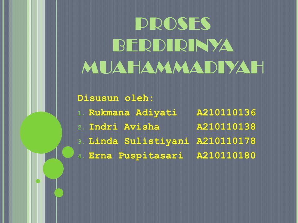 Sebagai tahap awal untuk mendeklarasikan muhammmadiyah Ahmad Dahlan melakukan kontak dengan Budi Utomo dengan tujuan ingin belajar tentang manajemen organisasi dari Budi Utomo.