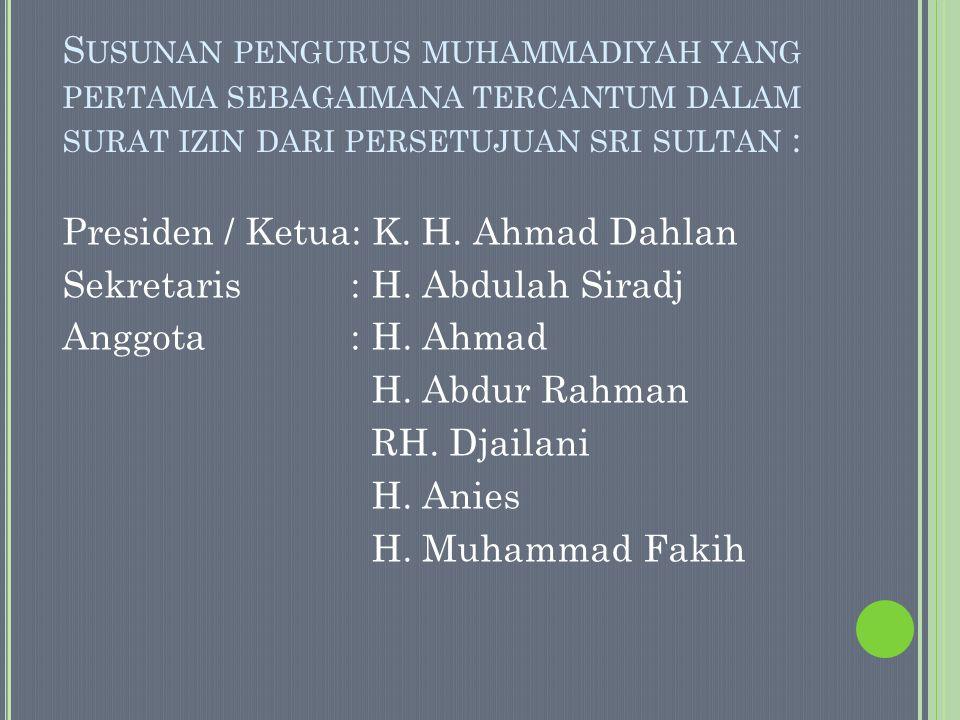 T UJUAN MUHAMMADIYAH DAN PERKEMBANGANNYA Sejak didirikan oleh Ahmad Dahlan sampai muktamar Muhammadiyahke 44 di Jakarta tahun 2000, rumusan maksud dan tujuan muhammadiyah mengalami tujuh kali perubahan redaksional susunan bahasan