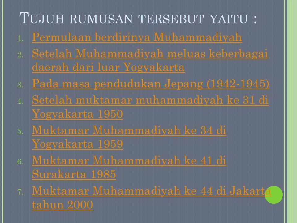 Dalam rumusan ini Muhammadiyah mempunyai maksud dan tujuan : 1.