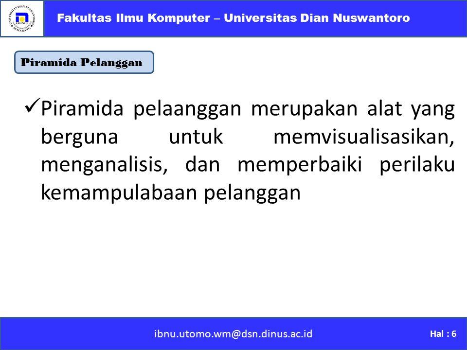Piramida Pelanggan ibnu.utomo.wm@dsn.dinus.ac.id Fakultas Ilmu Komputer – Universitas Dian Nuswantoro Hal : 6 Piramida pelaanggan merupakan alat yang