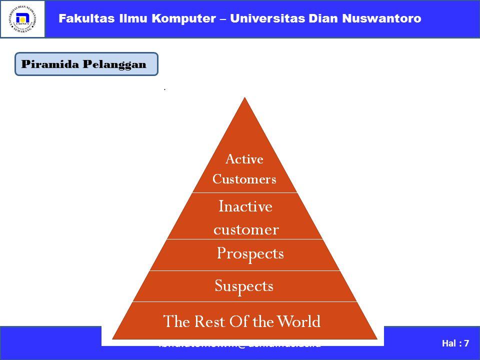 Piramida Pelanggan ibnu.utomo.wm@dsn.dinus.ac.id Fakultas Ilmu Komputer – Universitas Dian Nuswantoro Hal : 7