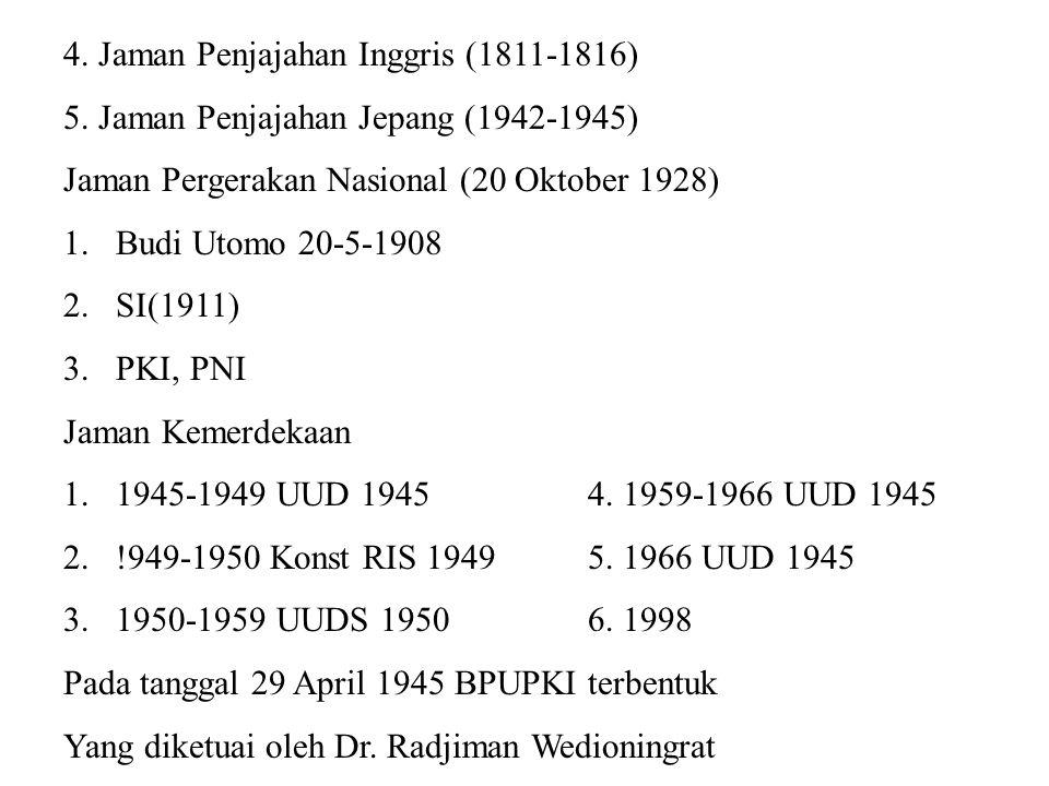 Proses Persidangan BPUPKI dibagi dalam 2 masa persidangan Masa persidangan I Dari tanggal 29 Mei sampai dengan 1 Juni 1945 Pembicara I, M.