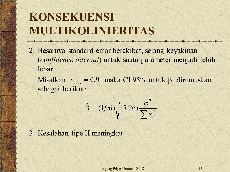 Agung Priyo Utomo - STIS12 KONSEKUENSI MULTIKOLINIERITAS 2.Besarnya standard error berakibat, selang keyakinan (confidence interval) untuk suatu param