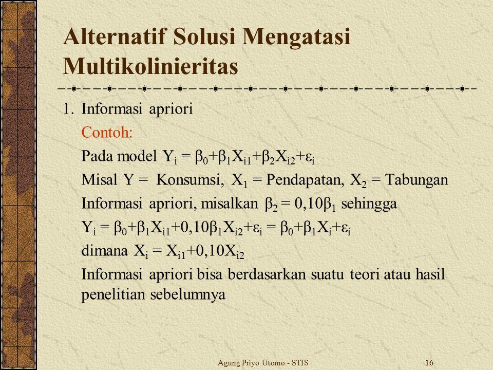 Agung Priyo Utomo - STIS16 Alternatif Solusi Mengatasi Multikolinieritas 1.Informasi apriori Contoh: Pada model Y i = β 0 +β 1 X i1 +β 2 X i2 +ε i Mis