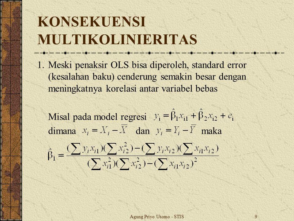 Agung Priyo Utomo - STIS10 KONSEKUENSI MULTIKOLINIERITAS Jika x i2 = x i1 + v i, dimana ≠ 0 dan Σ x i2 v i = 0, maka Penaksir β 2 dapat dicari secara analogi dengan pencarian penaksir β 1.