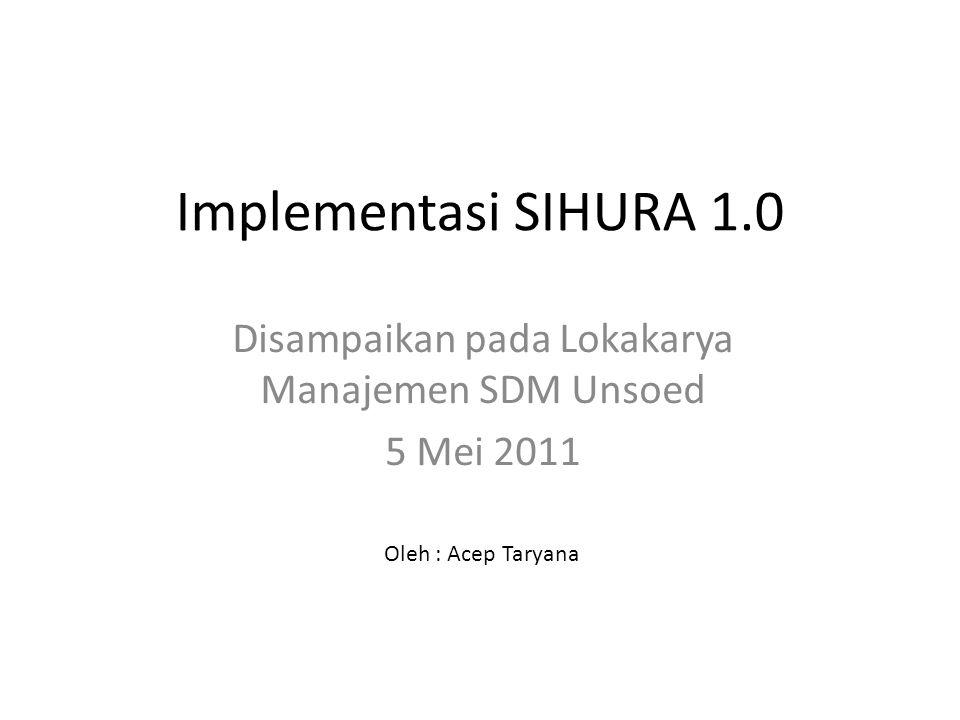 Implementasi SIHURA 1.0 Disampaikan pada Lokakarya Manajemen SDM Unsoed 5 Mei 2011 Oleh : Acep Taryana