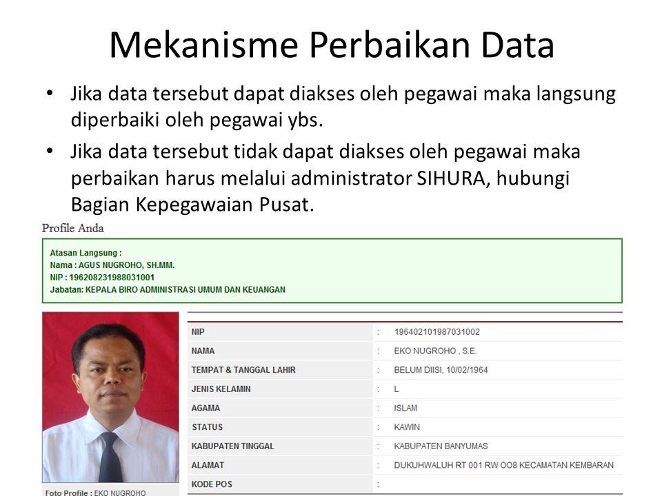 Mekanisme Perbaikan Data Jika data tersebut dapat diakses oleh pegawai maka langsung diperbaiki oleh pegawai ybs. Jika data tersebut tidak dapat diaks
